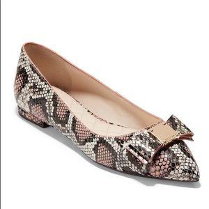 Cole Haan Tali Bow Snake Skin Skimmer Ballet Flats